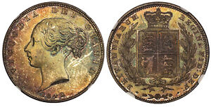 Click now to see the BUY IT NOW Price! BRITAIN VICTORIA  1842 AR HALFCROWN. NGC MS64. SCBC 3888. BEAUTIFULLY TONED.