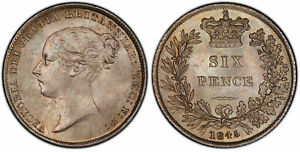 Click now to see the BUY IT NOW Price! BRITAIN VICTORIA  1845 AR SIXPENCE. PCGS MS67 KM 733.1; SCBC 3908.