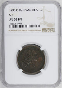 Click now to see the BUY IT NOW Price! 1793 CHAIN 1C NGC AU 53