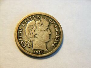 WOW  1913 S F  SILVER BARBER DIME  NICE   DATE  COIN FOR ANY COLLECTION