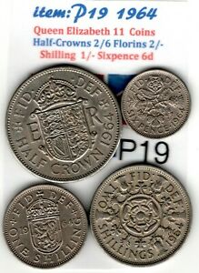 QE 11 4.COINS 1964 HALF CROWN 2/6 TO SIXPENCE 6D  VG    ITEM: P19