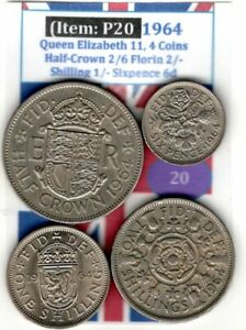 QE 11 4.COINS 1964 HALF CROWN 2/6 TO SIXPENCE 6D  VG    ITEM: P20