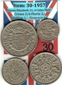QE 11 4.COINS 1957 HALF CROWN 2/6 TO SIXPENCE 6D  ITEM: 30 UJ   EF