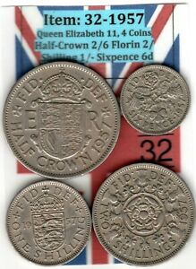 QE 11 4.COINS 1957 HALF CROWN 2/6 TO SIXPENCE 6D  ITEM: 32 UJ   EF