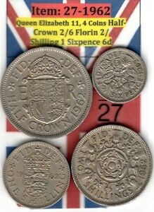 QE 11 4.COINS 1962 HALF CROWN 2/6 TO SIXPENCE 6D  ITEM: 27 UJ   EF