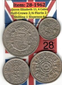 QE 11 4.COINS 1962 HALF CROWN 2/6 TO SIXPENCE 6D  ITEM: 28 UJ   EF