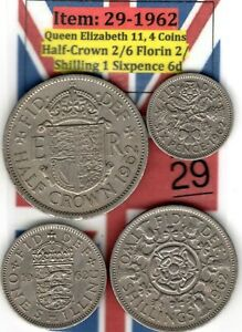 QE 11 4.COINS 1962 HALF CROWN 2/6 TO SIXPENCE 6D  ITEM: 29 UJ   EF