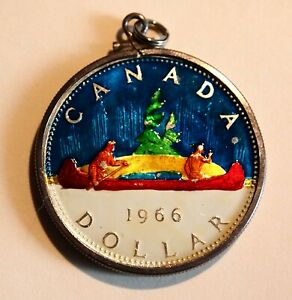 Click now to see the BUY IT NOW Price!  1966 CANADA DOLLAR COLOR ENAMEL CANOE TREE GREEN ELIZABETH CHARM JEWELRY