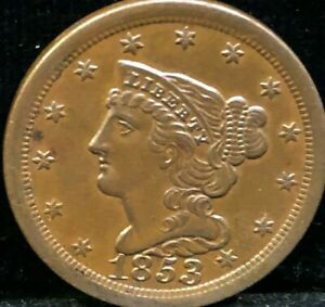 1853    BRAIDED   HAIR   HALF CENT    COHEN   1