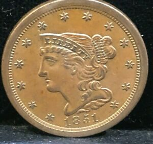 1851    BRAIDED  HAIR    HALF CENT      COHEN   1