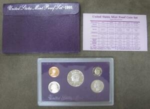 1991 PROOF SET   5 COINS   WITH ORIGINAL BOX AND COA