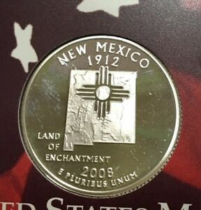 2008 S 25C NEW MEXICO SILVER DC  PROOF  50 STATES QUARTER