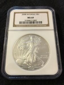 2008 W SILVER EAGLE NGC MS 69   BURNISHED   ASE   UNCIRCULATED   CERTIFIED SLAB
