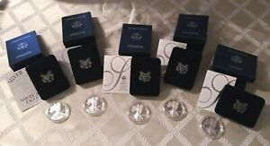 Click now to see the BUY IT NOW Price! LOT OF 5 SILVER PROOF EAGLES 2003 2007 ALL BOXES AND COAS INCLUDED