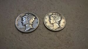 1942 1942 D MERCURY DIMES  TWO TOTAL    GOOD TO VG CONDITION