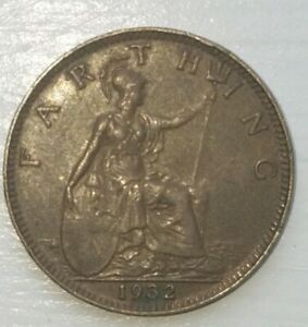 OLD FOREIGN WORLD COIN: 1932 GREAT BRITAIN FARTHING VINTAGE.