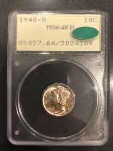 1940 S PCGS MS64FB MERCURY DIME   RATTLER HOLDER WITH GREEN CAC