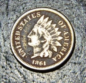 1861 INDIAN HEAD CENT. F/VF ST OF THE COPPER NICKEL SERIES DARKER CAMEO TYPE