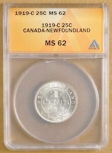 Click now to see the BUY IT NOW Price! 1919 C CANADA NEWFOUNDLAND SILVER QUARTER ANACS MS62