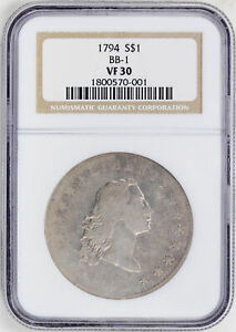 Click now to see the BUY IT NOW Price! 1794 FLOWING HAIR $1 NGC VF 30