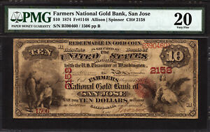 Click now to see the BUY IT NOW Price! $10 1874 FARMERS NATIONAL GOLD BANK OF SAN JOSE CH 2158 PMG 20  & HIGH GRADE