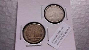 1953 1956 10C SILVER CANADIAN DIME LOT