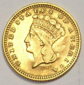 1871 INDIAN GOLD DOLLAR COIN  G$1    AU DETAILS  JEWELRY DAMAGE     DATE