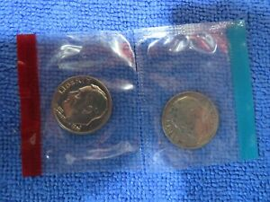 1970 P&D ROOSEVELT DIMES UNCIRCULATED IN MINT CELLO