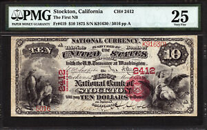 Click now to see the BUY IT NOW Price! $10 1875 FIRST NATIONAL BANK OF STOCKTON CALIFORNIA CH 2412 PMG 25  NOTE