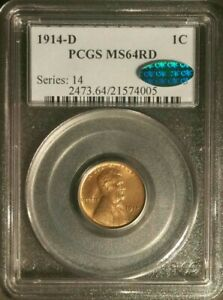 Click now to see the BUY IT NOW Price! 1914 D 1C LINCOLN WHEAT CENT PCGS MS 64 RD CAC