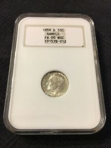 1959 D ROOSEVELT DIME NGC SAMPLE   FA 00 NGC   UNCIRCULATED  CERTIFIED SLAB  10C