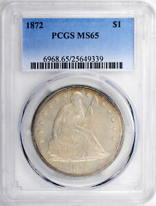 Click now to see the BUY IT NOW Price! 1872 LIBERTY SEATED S$1 PCGS MS 65