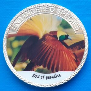 BIRD OF PARADISE   ENDANGERED ANIMAL SPECIES 40MM UNC COMMEMORATIVE COIN