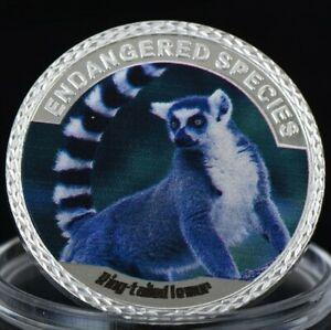 RING TAILED LEMUR   ENDANGERED ANIMAL SPECIES 40MM UNC COMMEMORATIVE COIN