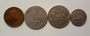 WORLD 4 DIFFERENT COINS LOT  NETHERLANDS BARBADOS & BAHAMAS