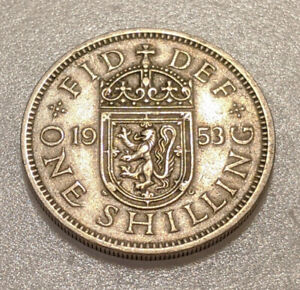 GREAT BRITAIN 1 SHILLING 1953 KM 891 ELIZABETH II SCOTTISH SHIELD 15Q
