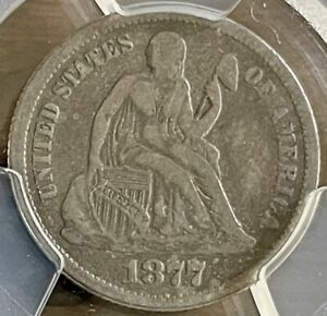 Click now to see the BUY IT NOW Price! 1877 SEATED LIBERTY DIME MPD PCGS F12 W/VARIETY. TOP 10076 F105 R5