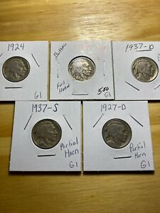 1924 1937 S 1927 D 1935 1937 D BUFFALO NICKELS FULL DATES G1 SOME FULL HORN
