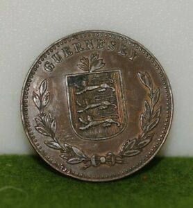 GUERNSEY 1914 H 8 DOUBLES LARGE COPPER COIN