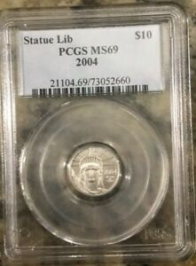 2004 PLATINUM AMERICAN EAGLE MS69 GRADED BY PCGS 1/10 OZ