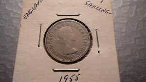 1955 UK GREAT BRITAIN 1 SHILLING SILVER