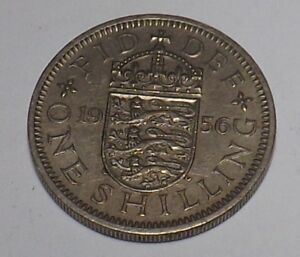 1 X BRITISH 1956 SHILLING COIN KING GEORGE VI SILVER BIRTHDAY YR 62