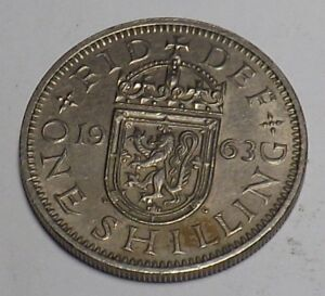 1 X SCOTTISH 1963 SHILLING COIN GEORGE VI SILVER BIRTHDAY YEAR 55