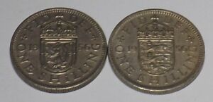 1 X SCOTTISH 1 X BRITISH 1956 SHILLING COIN KING GEORGE VI SILVER BIRTHDAY YR 62
