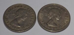 1 X SCOTTISH 1 X BRITISH 1955 SHILLING COIN KING GEORGE VI SILVER BIRTHDAY YR 63