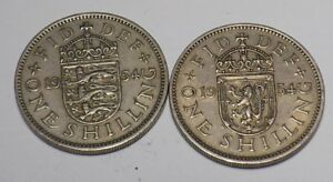 1 BRITISH 1 SCOTTISH 1954 SHILLING COINS KING GEORGE VI SILVER BIRTHDAY YEAR 64