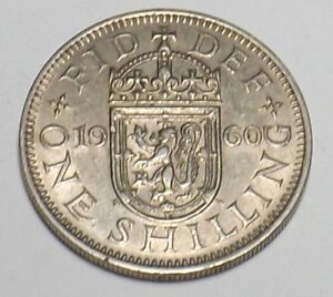 1 X SCOTTISH 1960 SHILLING COIN GEORGE VI SILVER BIRTHDAY YEAR 58