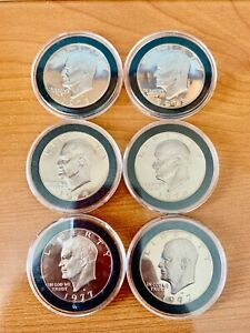 2 1973 2 1974 2 1977 SILVER EISENHOWER DOLLAR  IKE  SET OF 6 CHOICE PROOF