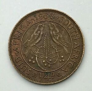 DATED : 1953   SOUTH AFRICA   QUARTER PENNY   1/4D COIN   QUEEN ELIZABETH II