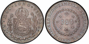 Click now to see the BUY IT NOW Price! BRAZIL. PEDRO I. 1823 R AR 960 REIS. PCGS MS63 RIO KM 368.1. IGNO ABOVE CROWN.